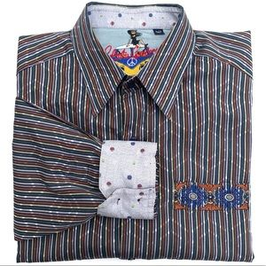 Robert Graham Striped Graphic L/S Flip Cuff Shirt